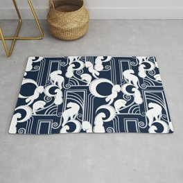 Deco Gatsby Panthers // navy and silver Rug