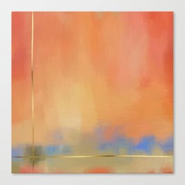 Abstract Landscape With Golden Lines Painting Canvas Print