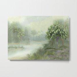 Misty Woodland Stream Metal Print