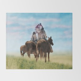 Cheyenne Warriors on the Great Plains - American Indians Throw Blanket