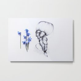 Braids and flowers Metal Print