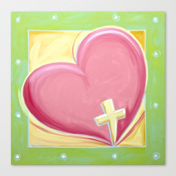 Heart with Cross Canvas Print