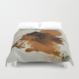abstract mountains, rustic orange sunrise Duvet Cover