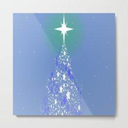 Blue Christmas Tree Metal Print