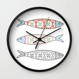 Traditional Portuguese icon. Colored sardines with typical Portuguese tiles patterns. Vector illustr Wall Clock
