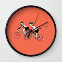 cycling Wall Clocks featuring Keep Cycling by Drew Linne