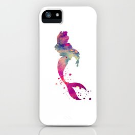 Mermaid Art Colorful Purple Watercolor Gift Fantasy Art iPhone Case