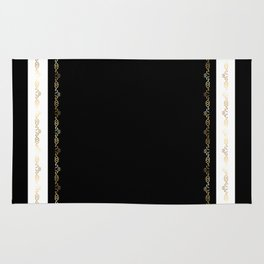 Black White Gold Pattern Rug