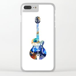Vintage Guitar - Colorful Abstract Musical Instrument Clear iPhone Case