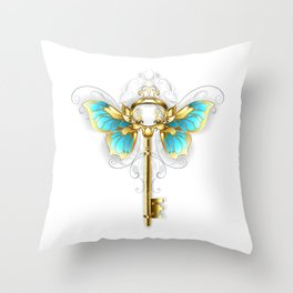 Golden Key with Butterfly Wings Throw Pillow