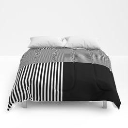 Geometric abstraction, black and white Comforters