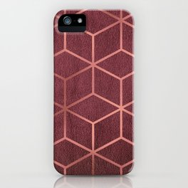 Pink and Rose Gold - Geometric Textured Gradient Cube Design iPhone Case