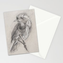 charcoal bird-steady watch Stationery Cards