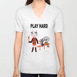 Fashionista Cats-Play hard Unisex V-Neck