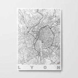 Lyon Map Line Metal Print