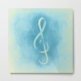 Treble Clef with the Blues Metal Print