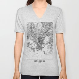 Helsinki White Map Unisex V-Neck