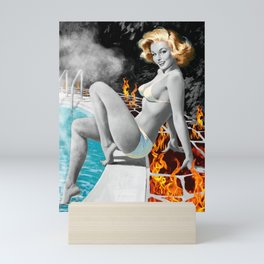 The Day All Hell Broke Loose At The Country Club vintage pin-up girl collage Mini Art Print
