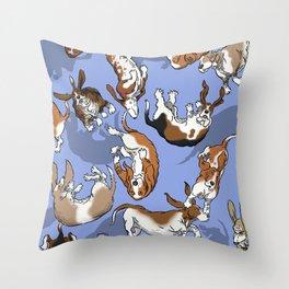 Raining Basset Hounds Throw Pillow
