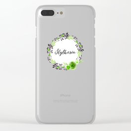 HP Slytherin in Watercolor Clear iPhone Case