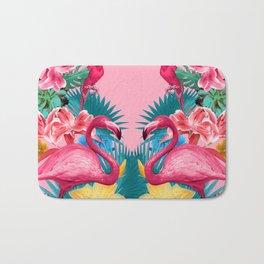 Flamingo and Tropical garden Bath Mat