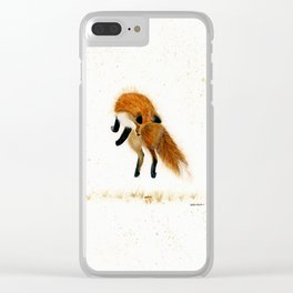 Fox Hop - animal watercolor painting Clear iPhone Case