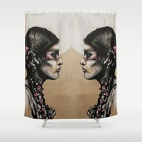 native Shower Curtains featuring Native by Mo Baretta