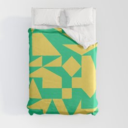 English Square (Yellow & Green) Duvet Cover