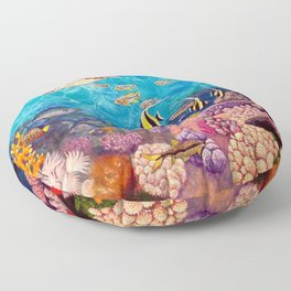 Zach's Seascape - Sea turtles Floor Pillow