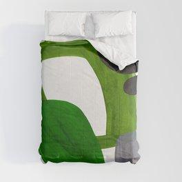 Mid Century Vintage 70's Design Abstract Minimalist Colorful Pop Art Olive Green Dark Green Grey Comforters