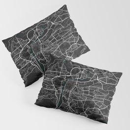 Prague City Map of Czech Republic in Dark Grunge Pillow Sham
