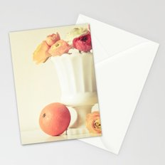 Milk Glass, Tangerine and Flowers Stationery Cards