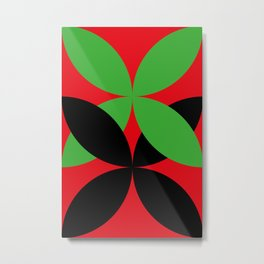 Two four-leaf clovers hugging in a beautiful deep red space. How lucky! Metal Print