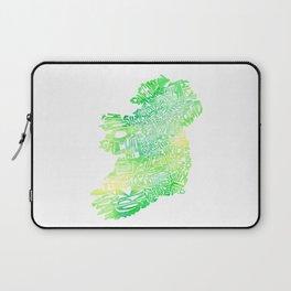 Typographic Ireland - Green Watercolor map Laptop Sleeve
