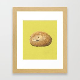 Sleepy snuggly grumpy cute: hedghog. Whimsical adorable wall art with lime green background Framed Art Print