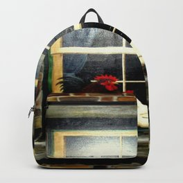 The rooster and a hen on a window Ledge Backpack