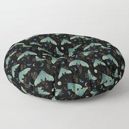 Luna and Moth - Midnight Black Floor Pillow