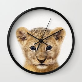 Baby Lion, Baby Animals Art Print By Synplus Wall Clock