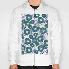 Abstract Poppy Pattern Green Hoody