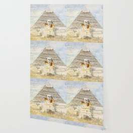 Cheops Pyramid and  Sphinx, Cairo Egypt Wallpaper