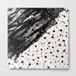 Pink, Black, & Faux Gold Paint Dots & Brushstrokes Metal Print