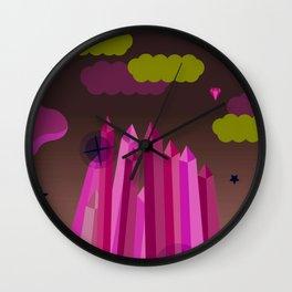 Emerald city running game, clouds, vector art Wall Clock