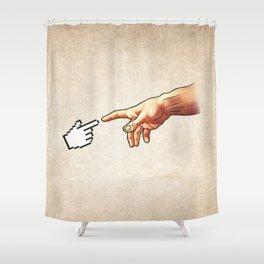 Funny 8bit Nerd & Geek Humor (Creation of Adam Parody) Shower Curtain