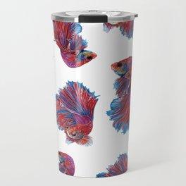 Ocean Theme- Red Blue Betta Fish Travel Mug