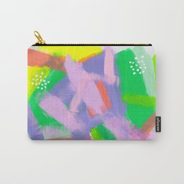 Be You, Be OK Baby Pink Lime Green Lilac White Colorful Abstract Painting Carry-All Pouch