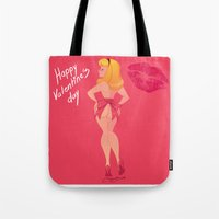 valentines Tote Bags featuring valentines day  by Melissa Ballesteros Parada