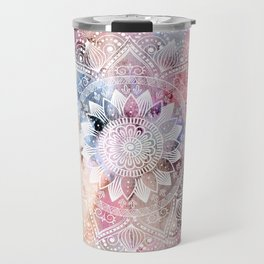Whimsical white watercolor mandala design Travel Mug
