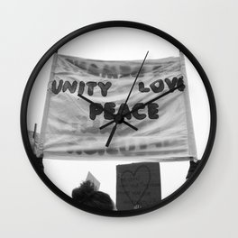 unity, love, peace Wall Clock