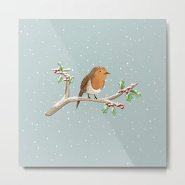 Robin on Branch Metal Print
