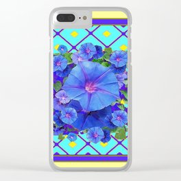 Yellow Turquois Purple Blue Floral Pattern Clear iPhone Case